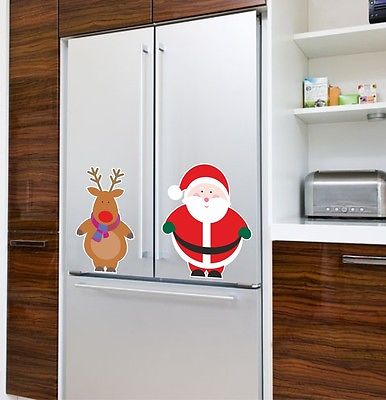 Santa And Rudolph Window Cling Reusable Christmas Sticker